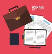 Worktime desk office supply design Stock Illustration