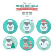 Holiday icons set with sheep in flat Stock Illustration