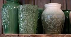 Three large green ceramic vase, Russian narrative picture Stock Footage