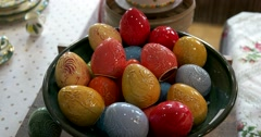 Red, yellow, blue porcelain eggs for Easter celebrations in the store  of Suzdal Stock Footage