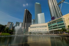 Timelapse of Fountain And Lake Outside Suria KLCC Stock Footage