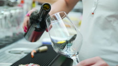 Serving wine slowmotion in a restaurant Stock Footage