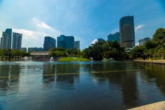 Timelapse of Water Fountains And Lake At Suria KLCC Stock Footage