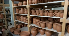 Shop the final firing of the ware from clay, production of ceramics, Russia Stock Footage