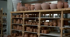 The ware from clay on the shelf, production of ceramics, Russia Stock Footage