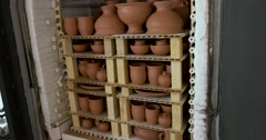 Ceramic workshop, ceramics kiln, production of ceramics, Russia Stock Footage