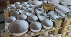 Pottery covered with glaze, production of ceramics, Russia Stock Footage