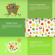 Banners with fruits and vegetables. Vector Stock Illustration