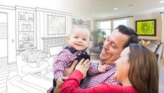 Happy Young Family Over Custom Living Room Design Drawing Photo Combination. Stock Photos