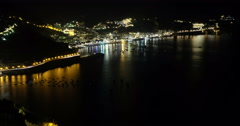Amalfi coast panorama seen from Ravello, at night. Italy Stock Footage