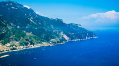 Amalfi coast panorama seen from Ravello. Italy Stock Footage