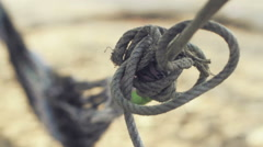 Hammock on Beach Rope Close Up Stock Footage
