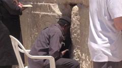 JERUSALEM, ISRAEL - 12 JUN 2016: pray at the Wailing Wall Jewish shrine in Arkistovideo