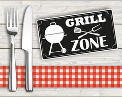 Wood Checked Cloth Knife Fork Sign Grill Zone Stock Illustration