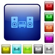 Color hifi square buttons Stock Illustration