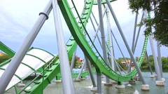 Roller Coaster track in a University adventure park in Orlando, Florida. Stock Footage