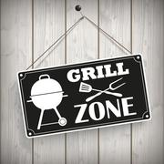 Sign Wooden Background Grill Zone Stock Illustration