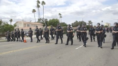 Line of Riot Police - Donald Trump Rally - Anaheim, CA - May 25th, 2016 Stock Footage