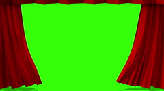 Close red curtain movement background, with chroma key screen Stock Footage