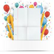 Banner Balloons Letters Folded Checked Paper Stock Illustration