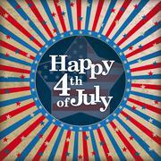 Vintage Background Happy 4 July Stock Illustration