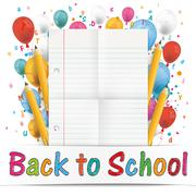 Banner Balloons Letters Folded Lined Paper Back To School Stock Illustration