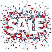 Sale Blue Red White Confetti Stars Stock Illustration