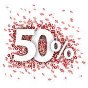 50 Red Percents Stock Illustration