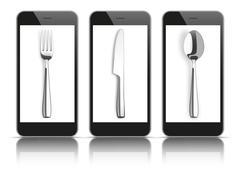 3 Black Smartphones Mirror Knife Fork Spoon Stock Illustration