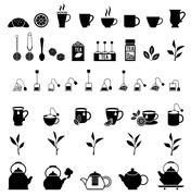 Vector black tea icons set - stock illustration