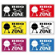 Six BBQ Zone Signs Stock Illustration