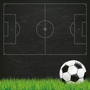 Football Ground Blackboard Green Grass Piirros