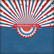 Independence Day US Flag Bunting Retro Sun Stock Illustration