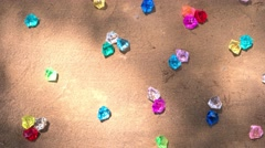 Abstract compositions made of colorful transparent gems. Stop motion animation Stock Footage