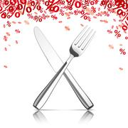 Knife Fork Mirror Red Percents Stock Illustration