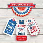 Independence Day Bunting 3 Price Stickers Wood Stock Illustration