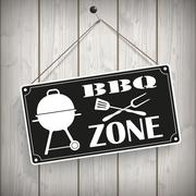 Sign Wooden Background BBQ Zone Stock Illustration