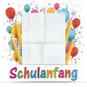 Banner Balloons Letters Folded Paper Schulanfang Stock Illustration