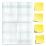 Checked Folded Paper Yellow Sticks Stock Illustration