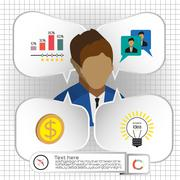Business infographic with icons, persons, chart and badge, flat design. Digit Stock Illustration