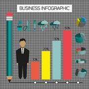 Business infographic with icons, person, pencil and diagrams, flat design. Di Stock Illustration