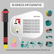 Business idea infographic with icons, persons and pencils, flat design. Digit Stock Illustration