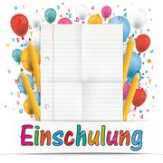 Banner Balloons Letters Folded Lined Paper Einschulung Stock Illustration