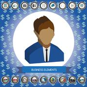 Business elements infographic with icons, person, idea, charts and papers, fl Stock Illustration