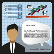 Business elements infographic with icons, charts and person, flat design. Dig Stock Illustration