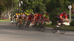 Mass start bike race in Estepona Spain. Stock Footage