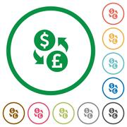 Dollar Pound exchange outlined flat icons Stock Illustration