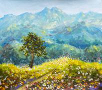 Sunny flowers road in mountains oil painting impressionism Piirros