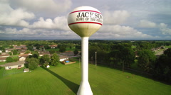 Ascending a small town water tower Stock Footage