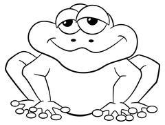 Black and white cartoon frog isolated on white Stock Illustration